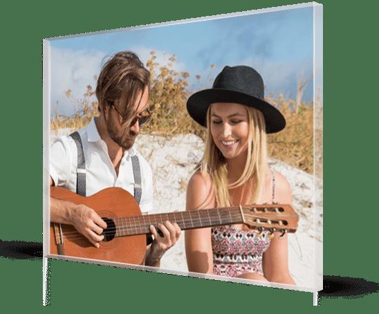 acrylic couple beach guitar