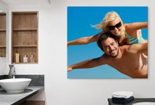 bathroom couple blue sky acrylic glass