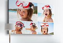 collage girl splashing beach