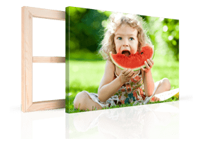 girl eating melon canvas print