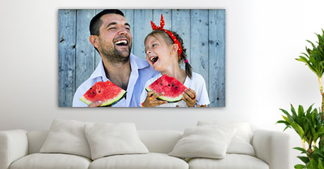 living room father daughter melon acrylic glass image