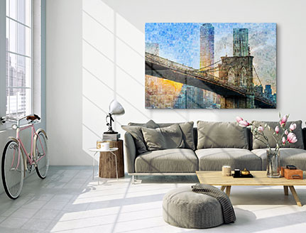 living room mosaic bridge