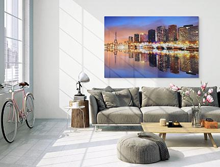 living rooom alu dibond skyline reflection