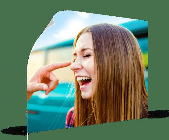 poster landing laughing woman
